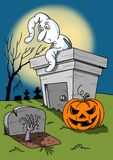 Halloween illustration with white ghost and pumpkin. Stock image Royalty Free Stock Photography