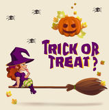 Halloween illustration with witch on broom Royalty Free Stock Photography