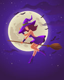Halloween illustration with witch on broom Royalty Free Stock Image