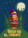 Halloween illustration with witch and crafting pot Stock Photos