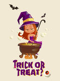 Halloween illustration with witch and crafting pot Stock Photography