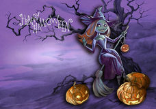 Halloween illustration of a witch Stock Photo