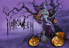 Halloween illustration of a witch Stock Photography