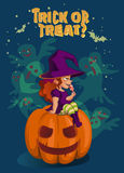 Halloween illustration with witch on pumpkin lantern Stock Images