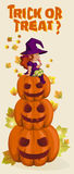 Halloween illustration with witch on pumpkin lantern Stock Photography