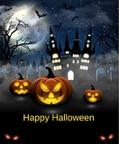 Halloween Illustration With Castle, Tomb And Bats Royalty Free Stock Photo