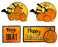 Halloween illustrations. Illustrations of pumpkins and halloween messages Stock Images
