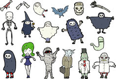Halloween illustrations. Selection of Halloween illustrations isolated on white Royalty Free Stock Images