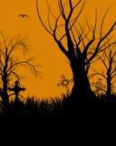 halloween illustrationsilhouette Arkivfoton