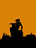 halloween illustrationsilhouette Arkivfoto
