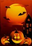 halloween illustrationsolnedgång Royaltyfria Bilder