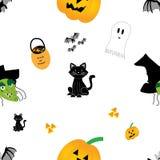 Halloween ilustró el modelo inconsútil Imagen de archivo libre de regalías