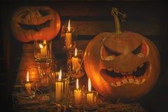 halloween ilustracyjne dynie zestaw wektora Obrazy Royalty Free