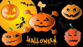 halloween ilustracyjne dynie zestaw wektora Zdjęcia Stock