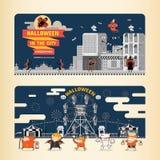 Halloween im Stadt infographics Lizenzfreies Stockfoto
