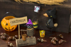 Halloween image with crow and Jack o lantern Stock Photography