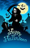 Halloween image with grim reaper. Color illustration Royalty Free Stock Images