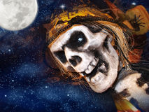 Halloween image. Halloween Invitation Witch Haunted Castle Skull. The moon element of this image furnished by NASA Stock Photography