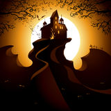 Halloween image. Halloween landscape with castle and moon Stock Images