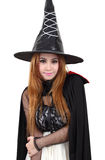 Halloween. Image of portrait asian woman in black hat and black clothing on halloween Royalty Free Stock Images