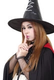 Halloween. Image of portrait asian woman in black hat and black clothing on halloween Stock Photo