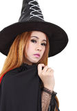 Halloween. Image of portrait asian woman in black hat and black clothing on halloween Stock Images