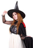 Halloween. Image of portrait asian woman in black hat and black clothing on halloween Royalty Free Stock Photography