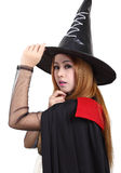 Halloween. Image of portrait asian woman in black hat and black clothing on halloween Stock Photography