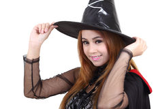 Halloween. Image of portrait asian woman in black hat and black clothing on halloween Royalty Free Stock Photos