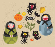 Halloween images. Halloween icons with matreshka and cats Stock Photos