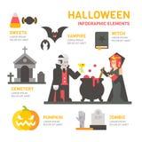 Halloween-infographic festival vlak ontwerp Stock Foto