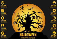 Halloween infographic template. Flat icons Stock Photo