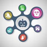 Halloween infographic templates with connected metaballs Stock Photos
