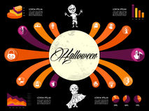 Halloween Infographics diagram spooky icons templa vector illustration
