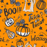 Halloween ink hand drawn ghosts and pumpkins with lettering seam Stock Image
