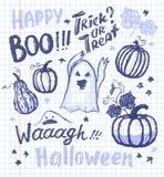 Halloween-inkthand getrokken spoken en pompoenen met het van letters voorzien coll Royalty-vrije Stock Fotografie