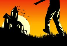 Halloween Inn. A haunting Halloween illustration with a haunted house Stock Photography