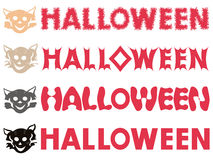 Halloween inscriptions and feline stencils Stock Photos
