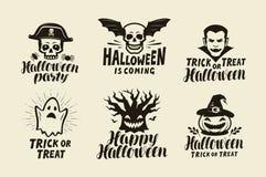 Halloween, insieme delle etichette Simbolo di festa Illustrazione di vettore dell'iscrizione royalty illustrazione gratis