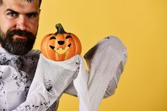 Halloween and international celebration concept. Halloween character in ghost costume. Halloween and international celebration concept. Halloween character in stock images