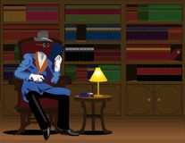 Halloween Invisible man. Invisible man reading a book in the living room Royalty Free Stock Photos