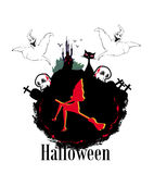 Halloween invitation. Or background with spooky castle and bats , witch, cat, skull and graves Royalty Free Stock Photos
