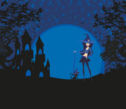 Halloween invitation with beautiful witch and creepy castle Royalty Free Stock Images
