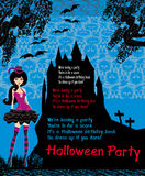 Halloween invitation with beautiful witch Stock Photography
