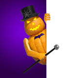 Halloween invitation blank. (template for text message). Halloween cartoon pumpkin character (Jack O Lantern) on violet background with white banner sign card Stock Photos