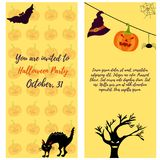 Halloween invitation card with cat, ghost house, pumkin, tree and bat. Halloween invitation card with cat, ghost house, pumpkin, scare tree and bat Stock Images