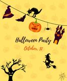 Halloween invitation card with cat, ghost house, pumkin, witch, scare tree and bat Royalty Free Stock Photography