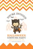 Halloween invitation card for costume night party cute kid  Stock Photos