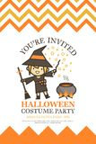 Halloween invitation card for costume night party cute kid  Royalty Free Stock Photo