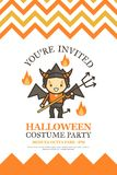 Halloween invitation card for costume night party cute kid  Stock Photo